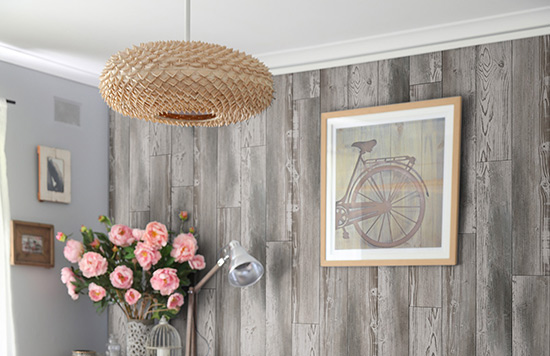 beautiful accent wall made with vinyl wooden wall composite panels