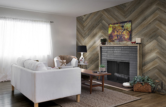 wooden wall planks around fireplace