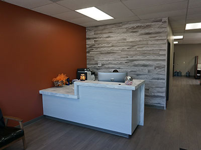 vinyl wall panels behind reception desk