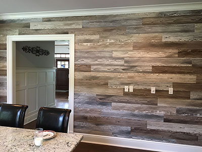 vinyl wood paneling in office