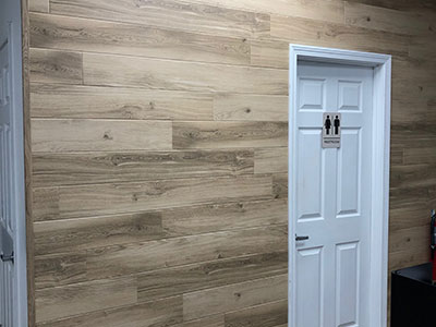 panels of vinyl wood composite by bathroom